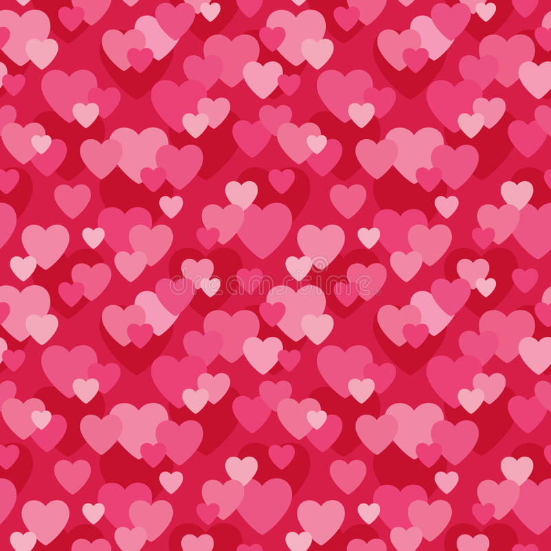 seamless love hearts background in pink and red stock