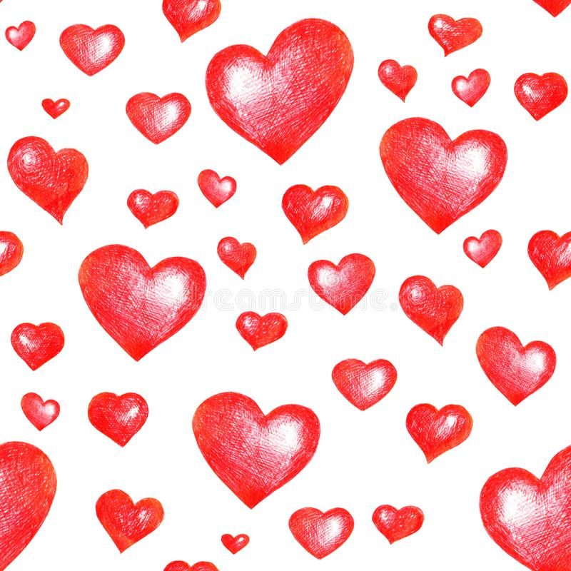 Seamless love themes texture. Seamless pattern with red hearts isolated on white. royalty free stock photography