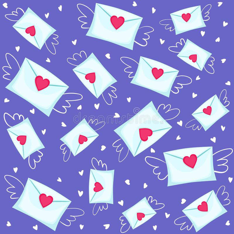 Seamless lovely pattern with hearts and envelopes with wings. stock illustration