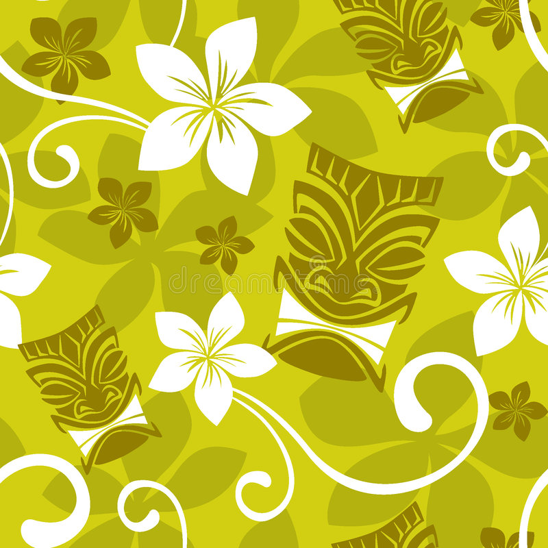 Seamless Luau Tiki Pattern vector illustration