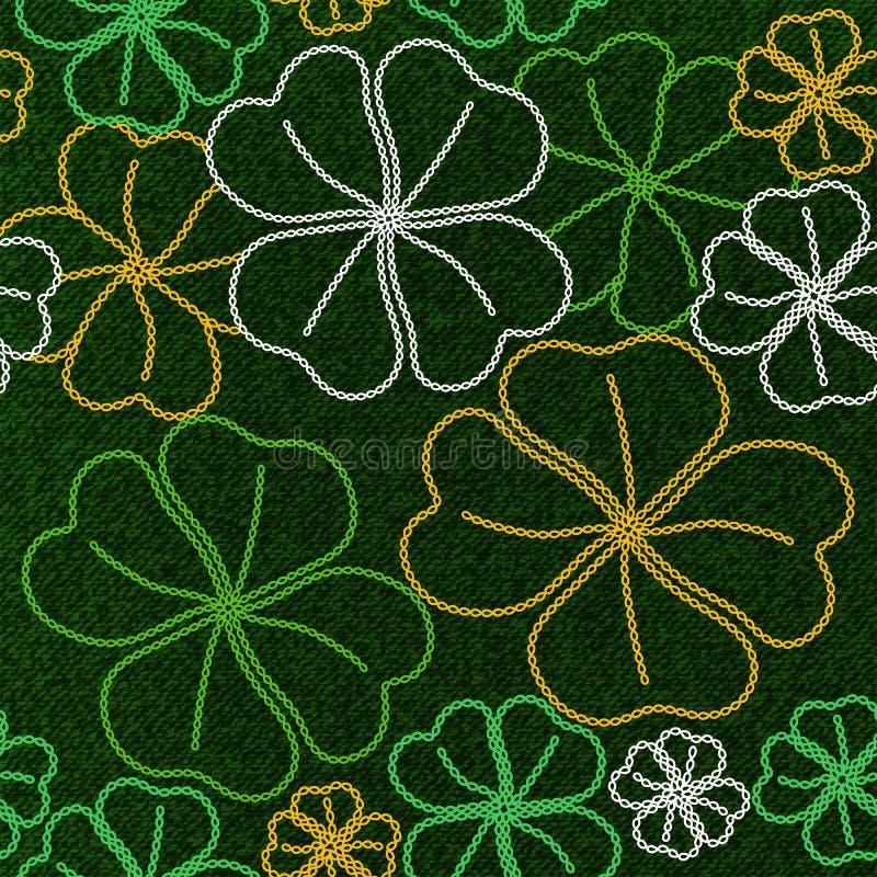 Seamless lucky shamrock embroidery pattern royalty free illustration