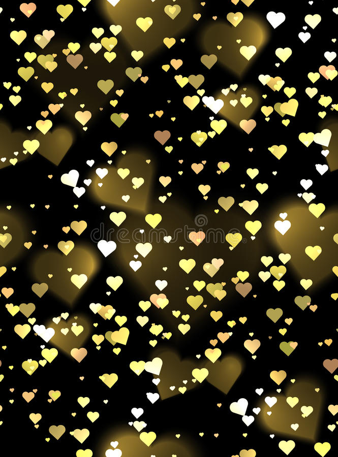 Seamless luxurious texture with hearts and bokeh sparkles. Vector background for your creativity royalty free illustration