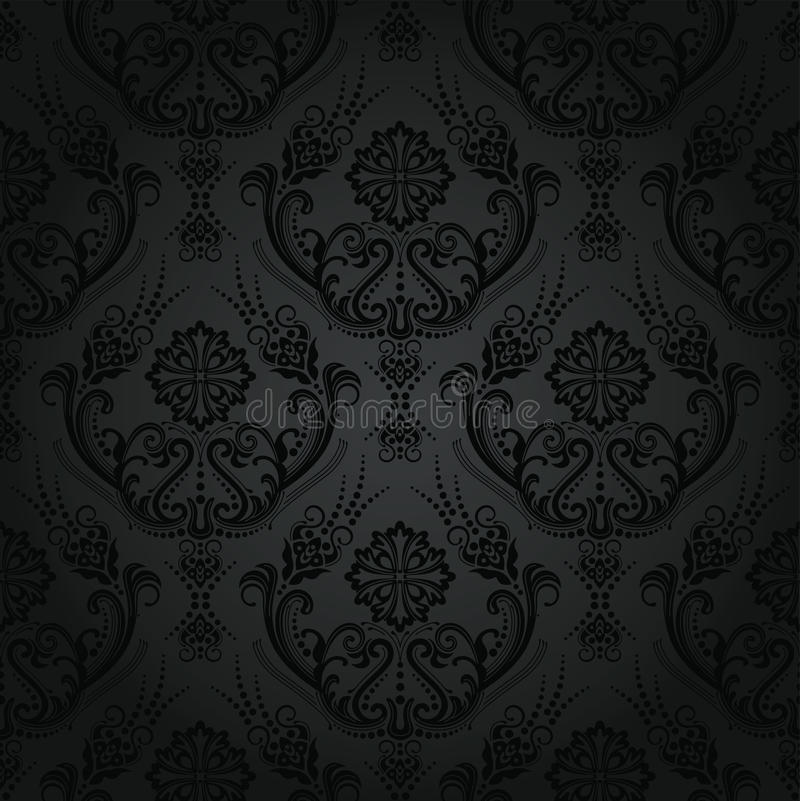 Download Seamless Luxury Black Floral Damask Wallpaper Stock Vector