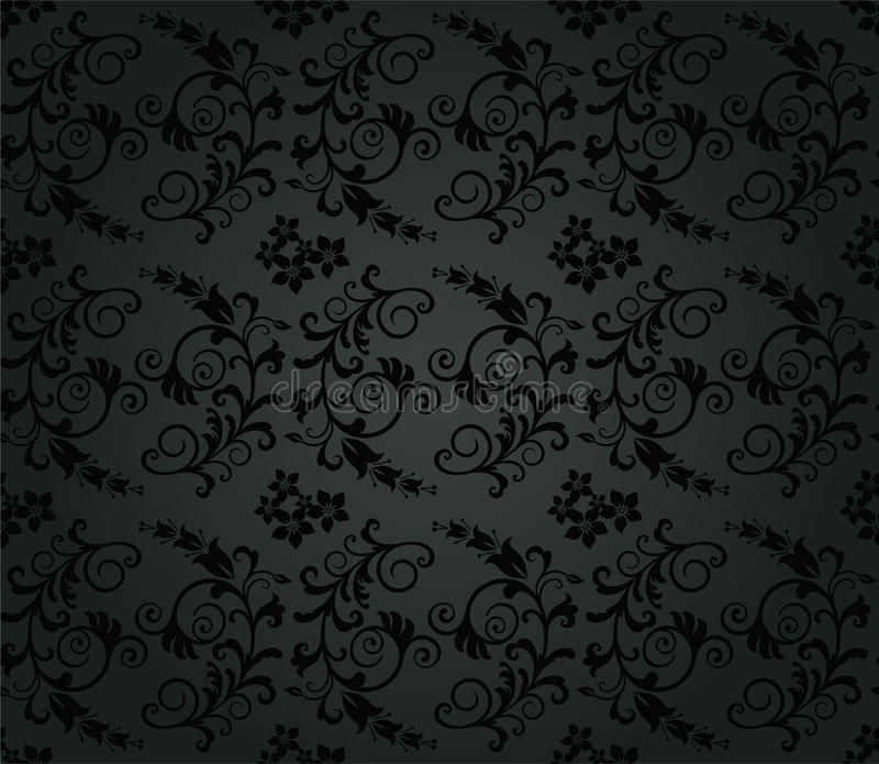 Seamless luxury charcoal round foliage wallpaper vector illustration