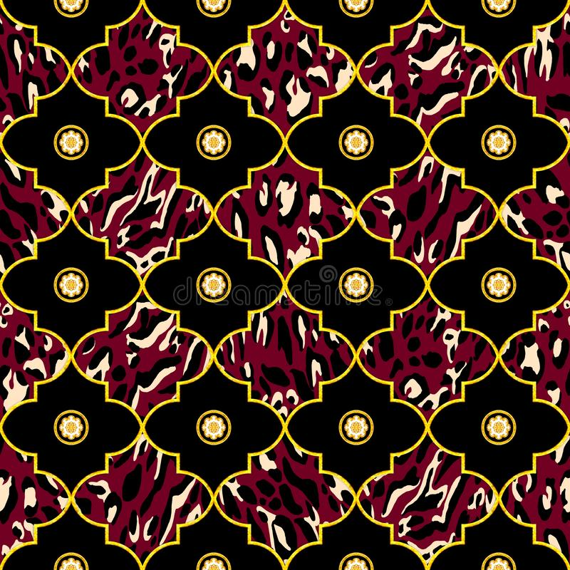 Seamless Luxury Geometric Golden Morrocan Trellis Pattern with Leopard Pattern. Golden Moftif on Dark Red and Black Background. Re vector illustration