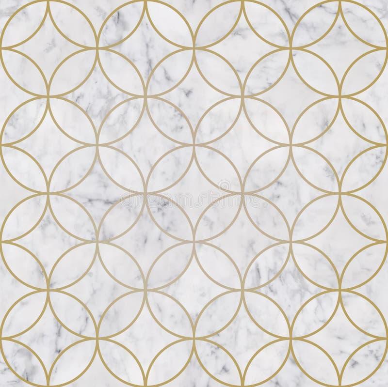 Seamless luxury golden circle geometric pattern and white marble stone texture stock photos