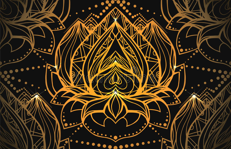 Seamless luxury pattern with gold Lotus with boho pattern royalty free illustration