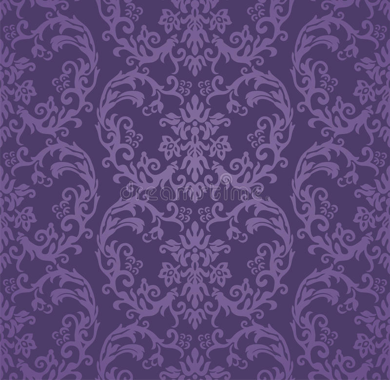 Download Seamless Luxury Purple Floral Damask Wallpaper Stock Vector