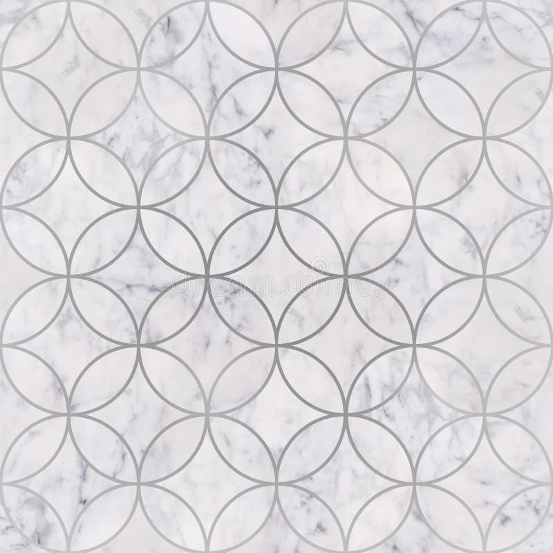 Seamless luxury white marble stone texture, circle geometric pattern. Seamless luxury white marble stone textured, circle geometric pattern stock illustration