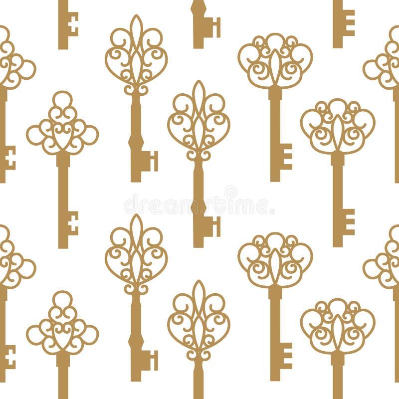 Seamless mönstra med antikviteten stämm också vektor för coreldrawillustration royaltyfri illustrationer
