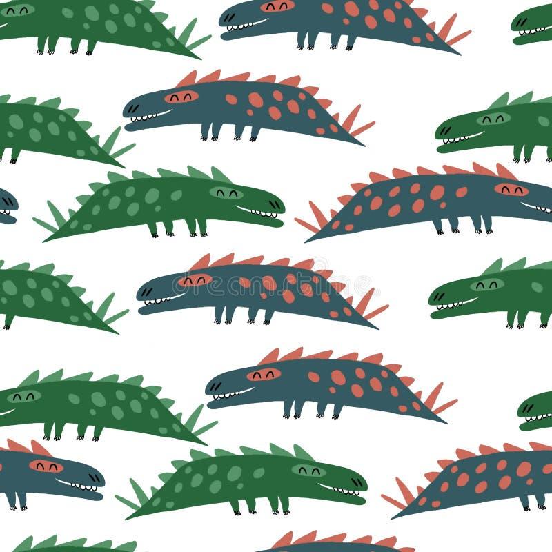 Seamless mönstra med dinosaurs royaltyfri bild