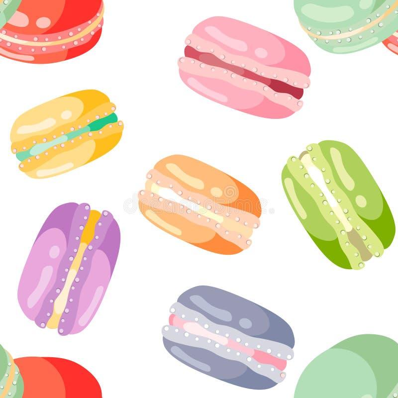 Seamless mönstra med färgrika macaroons stock illustrationer