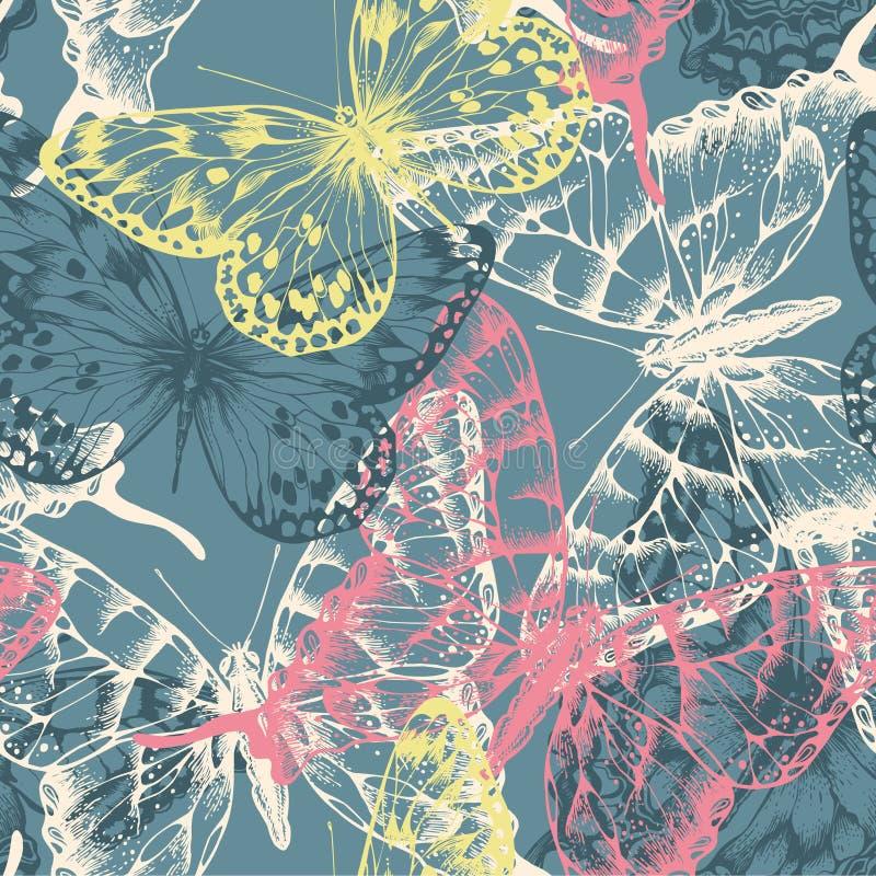 Seamless mönstra med färgrikt flyga för fjärilar. stock illustrationer