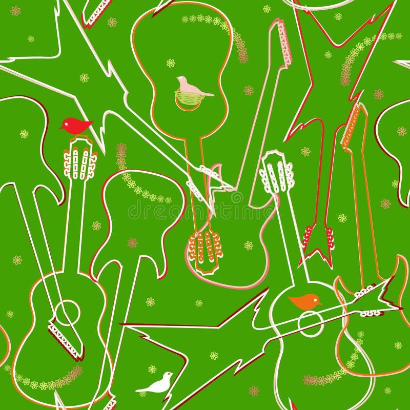 Seamless mönstra med gitarrer vektor illustrationer