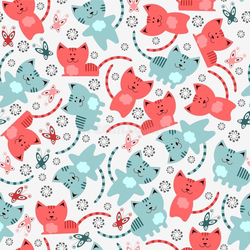 Seamless mönstra med kattungar stock illustrationer