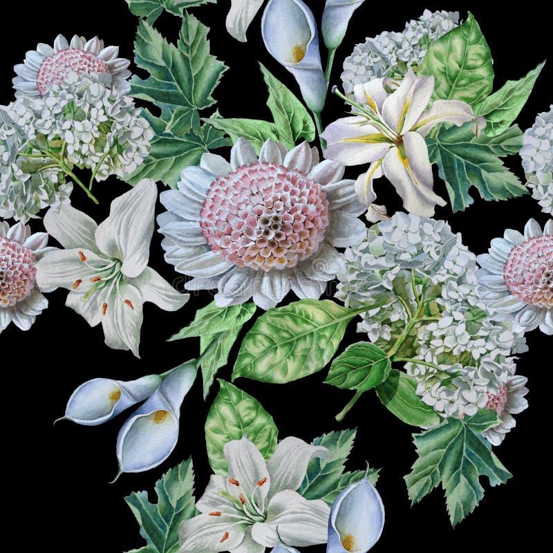 Seamless mönstra med härliga blommor lilia calla hydrangea vektor illustrationer