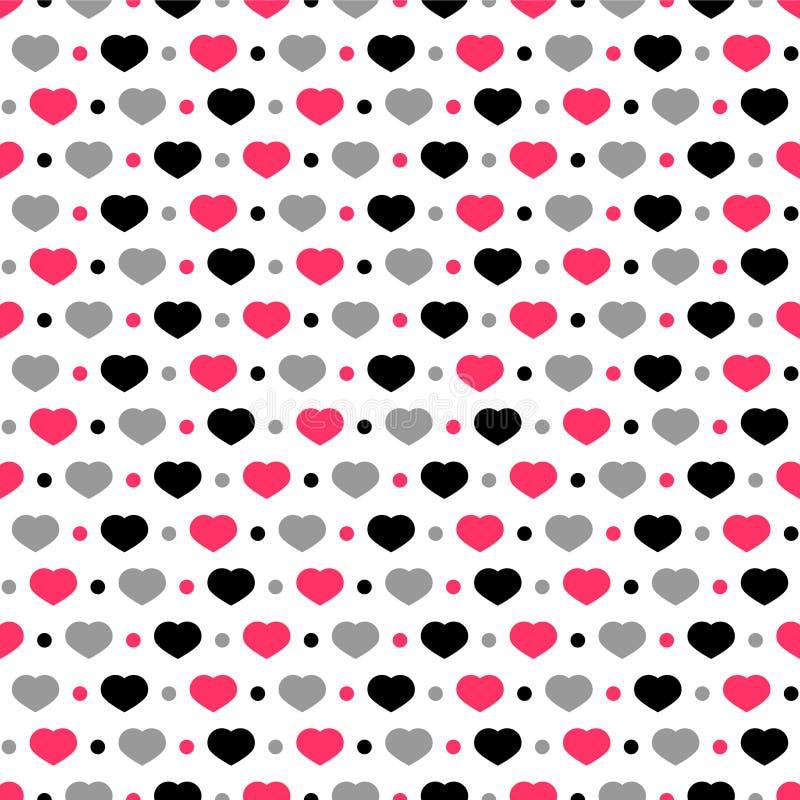 Seamless mönstra med hjärtor royaltyfri illustrationer