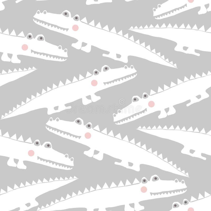 Seamless mönstra med krokodiler royaltyfri illustrationer
