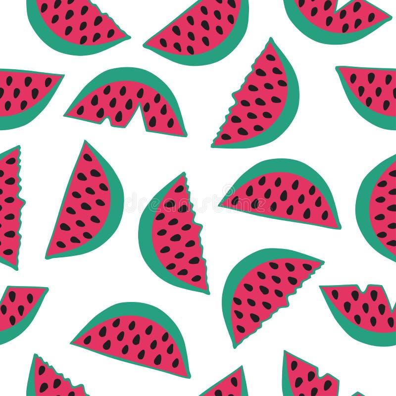 Seamless mönstra med vattenmelonen vektor illustrationer