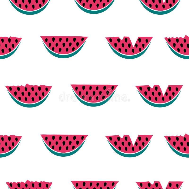 Seamless mönstra med vattenmelonen royaltyfri illustrationer
