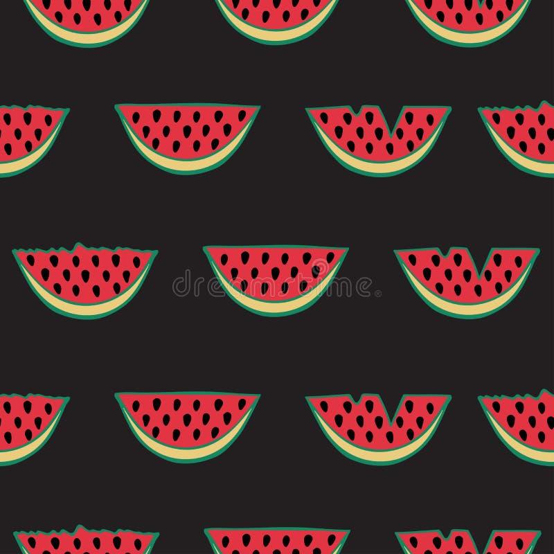 Seamless mönstra med vattenmelonen stock illustrationer