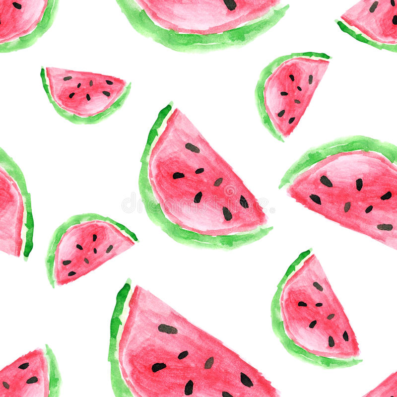 Seamless mönstra med vattenmelonen Hand dragen vattenfärgwatermel stock illustrationer