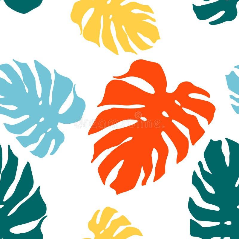 Seamless m?nstra med monsteraleafs Ljus tropisk bakgrund stock illustrationer