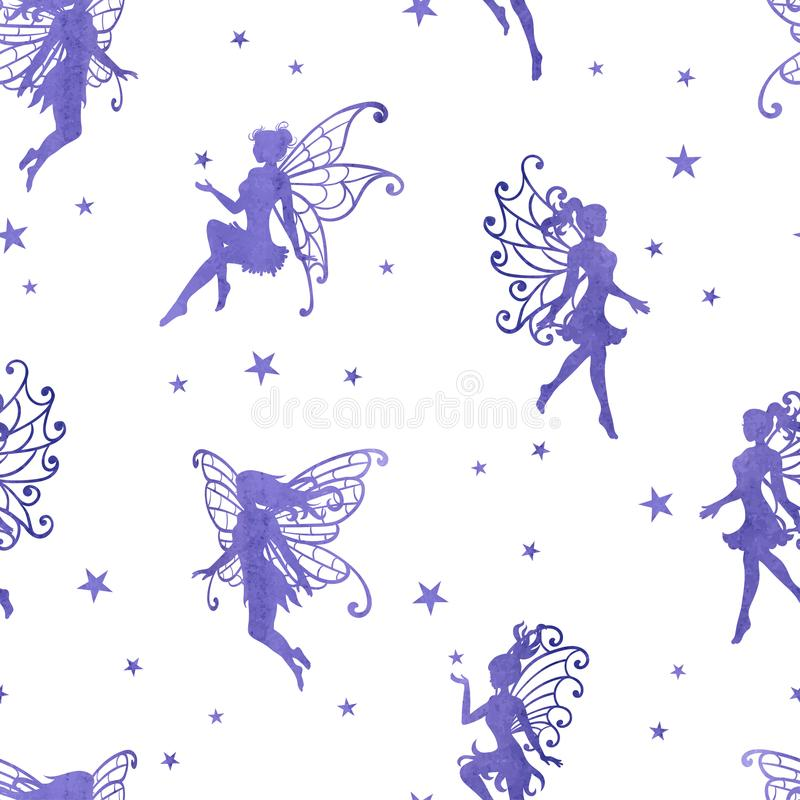 Seamless magical pattern with watercolor purple fairies and stars. royalty free illustration