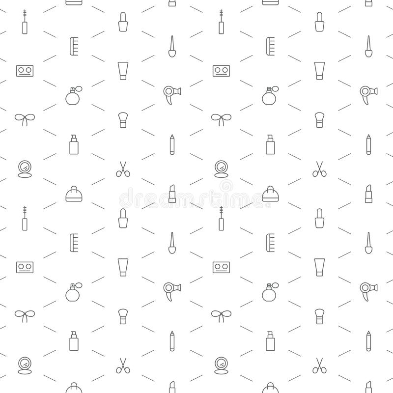 Seamless make up icons pattern on white background vector illustration