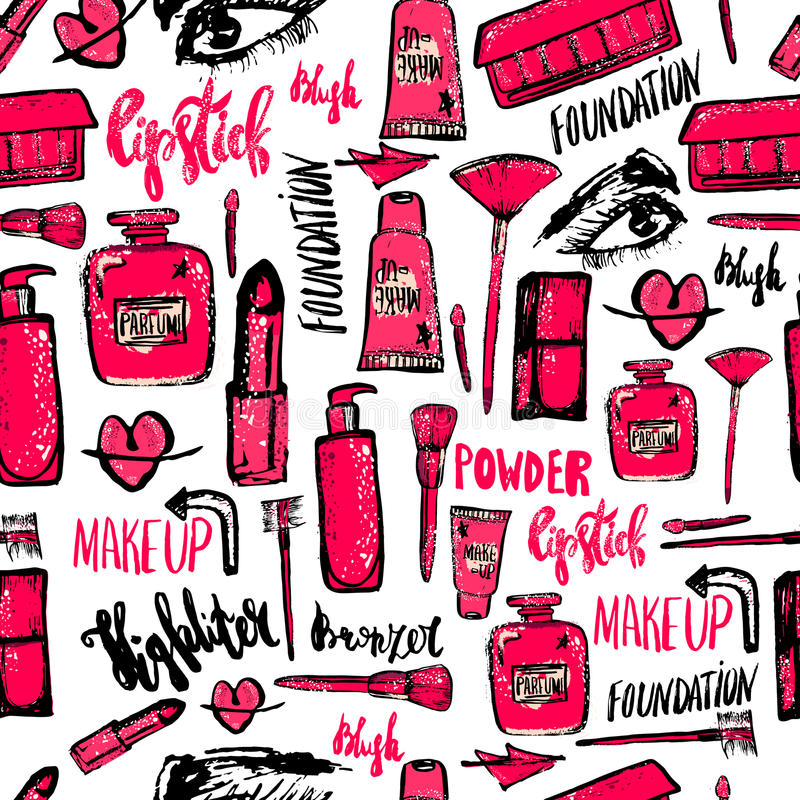 Seamless Makeup Pattern Glamorous Makeup Pattern With Nail Polish And Lipstick Stock Vector