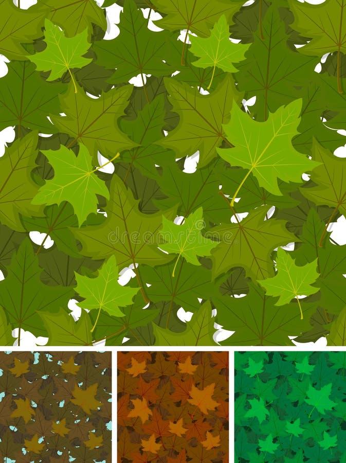Seamless Maple Leaves Background Set royalty free illustration