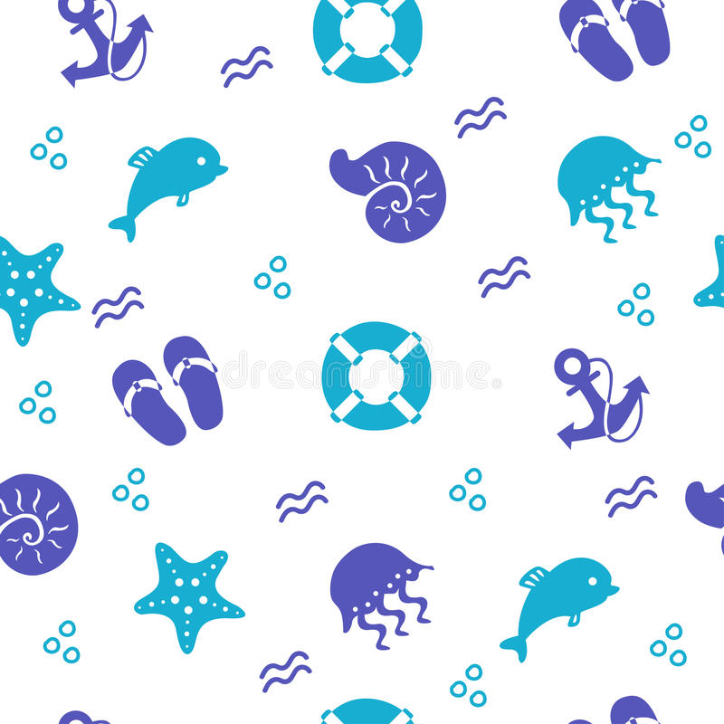 Seamless marine pattern with beach items, vector background vector illustration