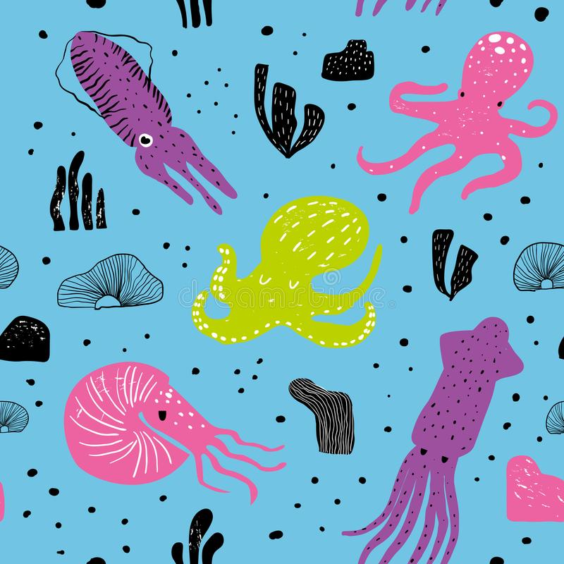 Download Seamless Marine Pattern With Cute Octopus Childish Underwater Creatures Background For Fabric Textile