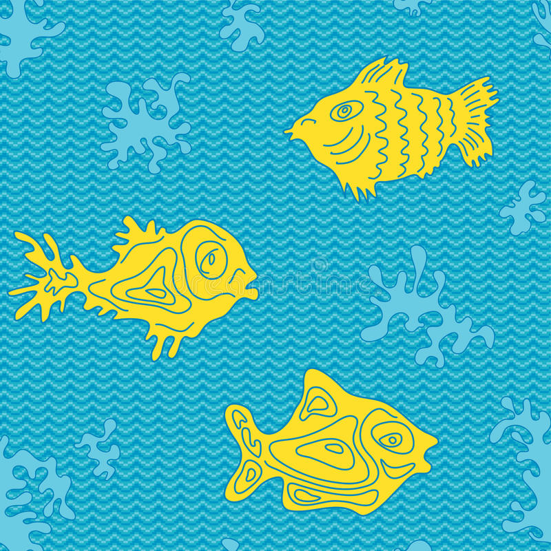 Download Seamless Marine Vector Pattern With Fish Stock Vector - Illustration: 42380037