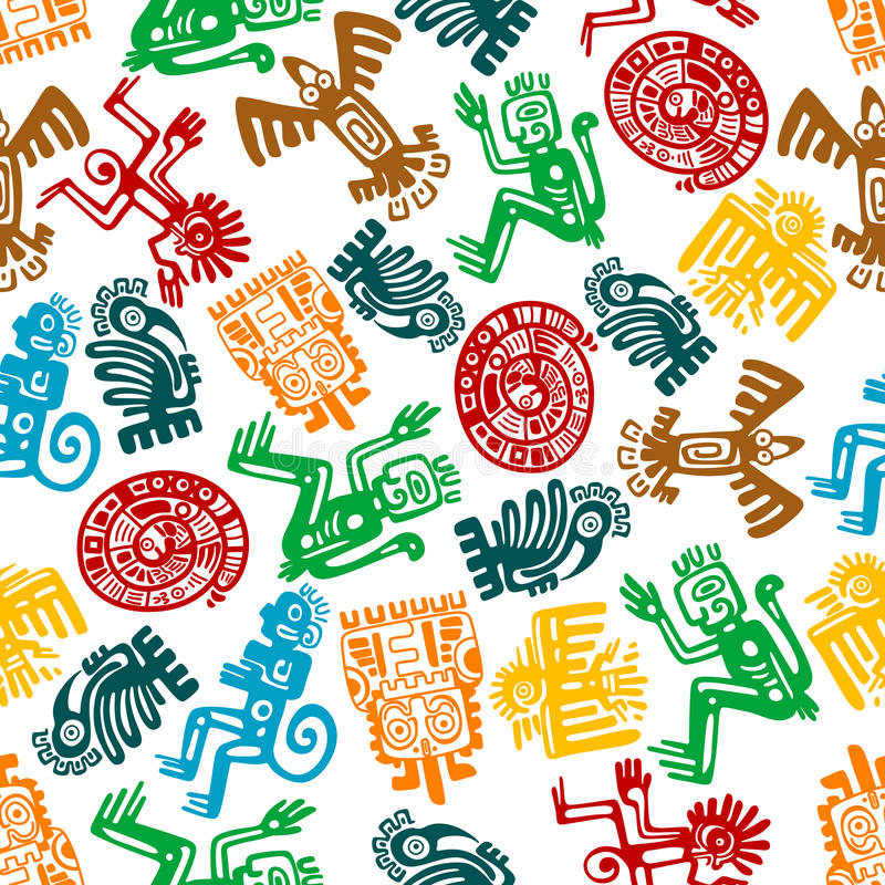 Seamless mayan and aztec pattern of animal totems royalty free illustration
