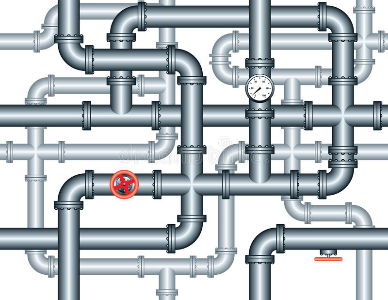 Seamless maze of plumbing pipes stock vector for Pipes used in plumbing