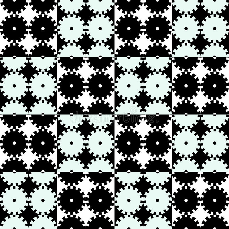 Seamless mechanics black and white background vector illustration