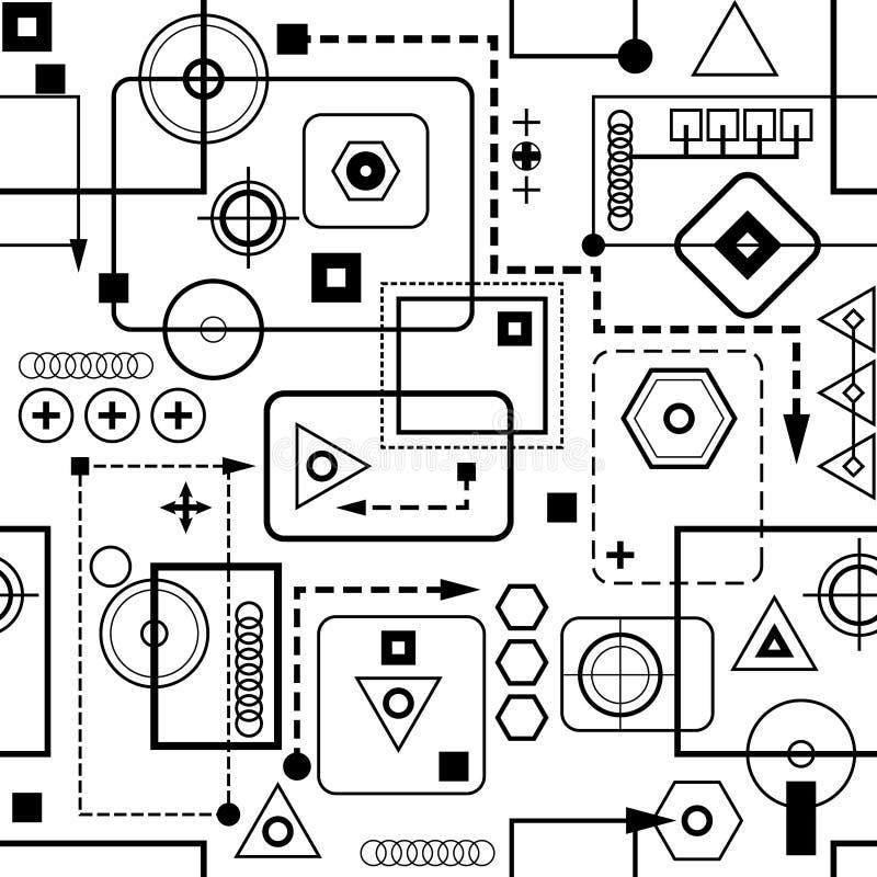 seamless mekanisk modell ii vektor illustrationer