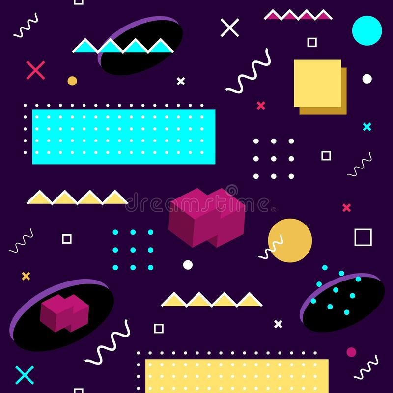 Seamless Memphis pattern. Abstract vector pattern of geometric shapes on a purple background. Bright fun decorative design element. Abstract graphic retro royalty free illustration