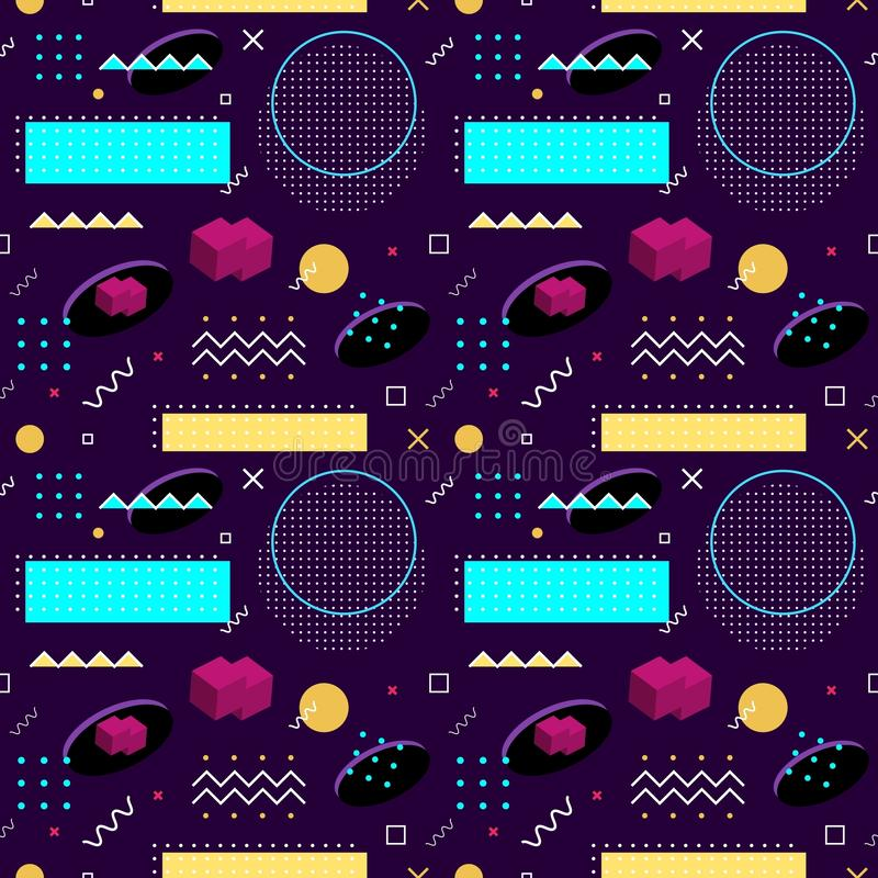 Seamless Memphis pattern. Abstract vector pattern of geometric shapes on a purple background. Bright fun decorative design element. Abstract graphic retro vector illustration