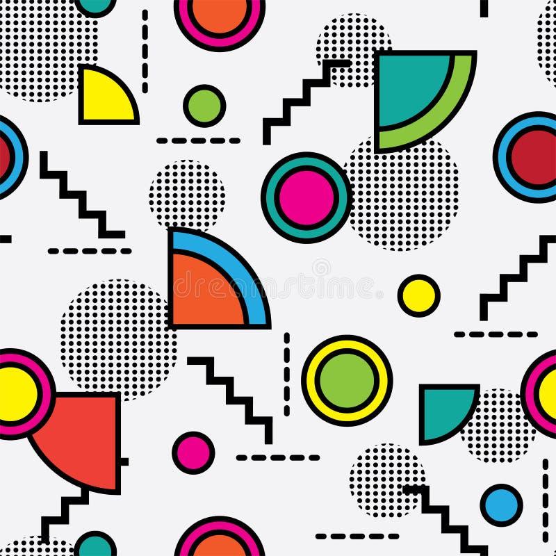 Seamless memphis retro style pattern royalty free illustration