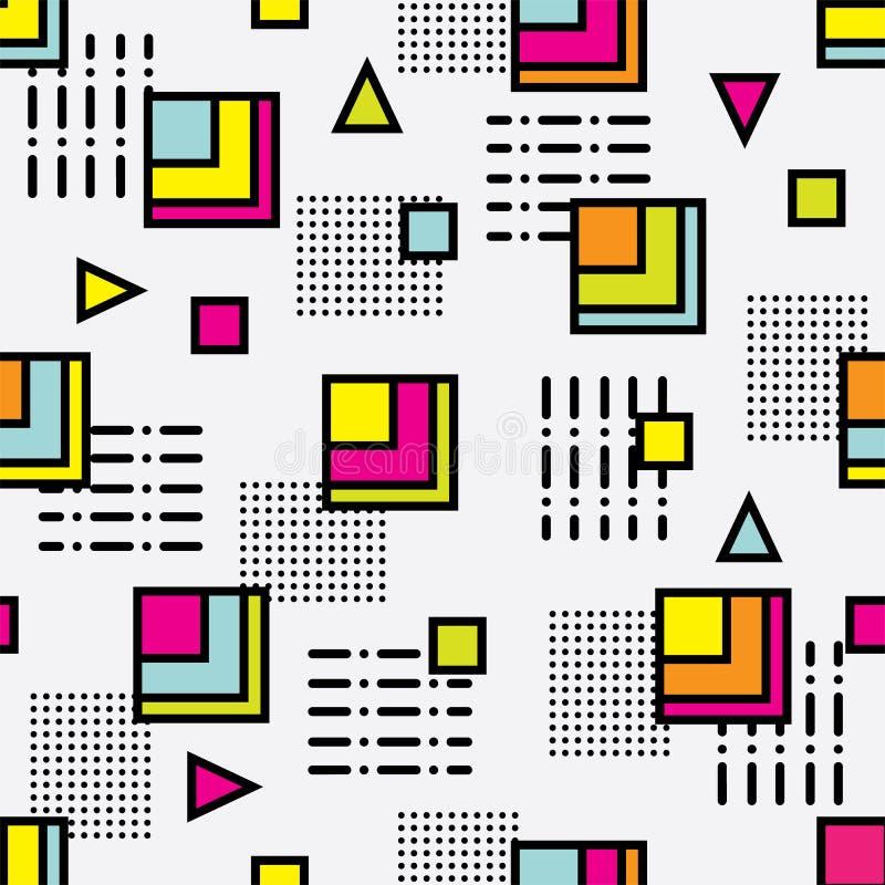 Seamless memphis retro style pattern stock illustration