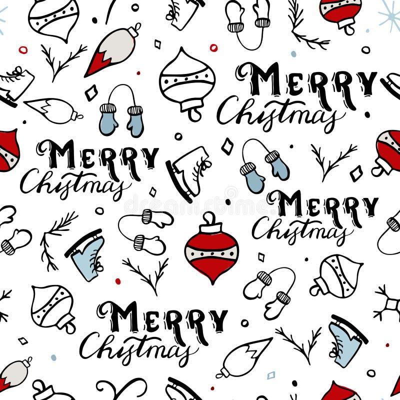 Seamless Merry Christmas Pattern stock illustration