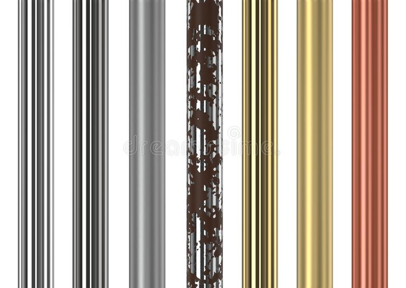 Seamless metal tubes and pipes. Seamless chrome, stainless steel, gold and copper vertical tubes on white background. 3D rendering vector illustration