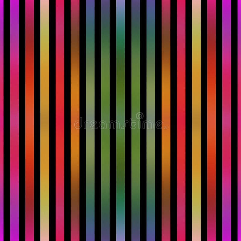 Seamless metallic effect colorful stripes on black. royalty free stock image