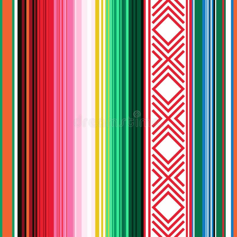 seamless mexikansk modell Randig textur med prydnaden för plädet, filt, matta Bakgrund för garnering royaltyfri illustrationer