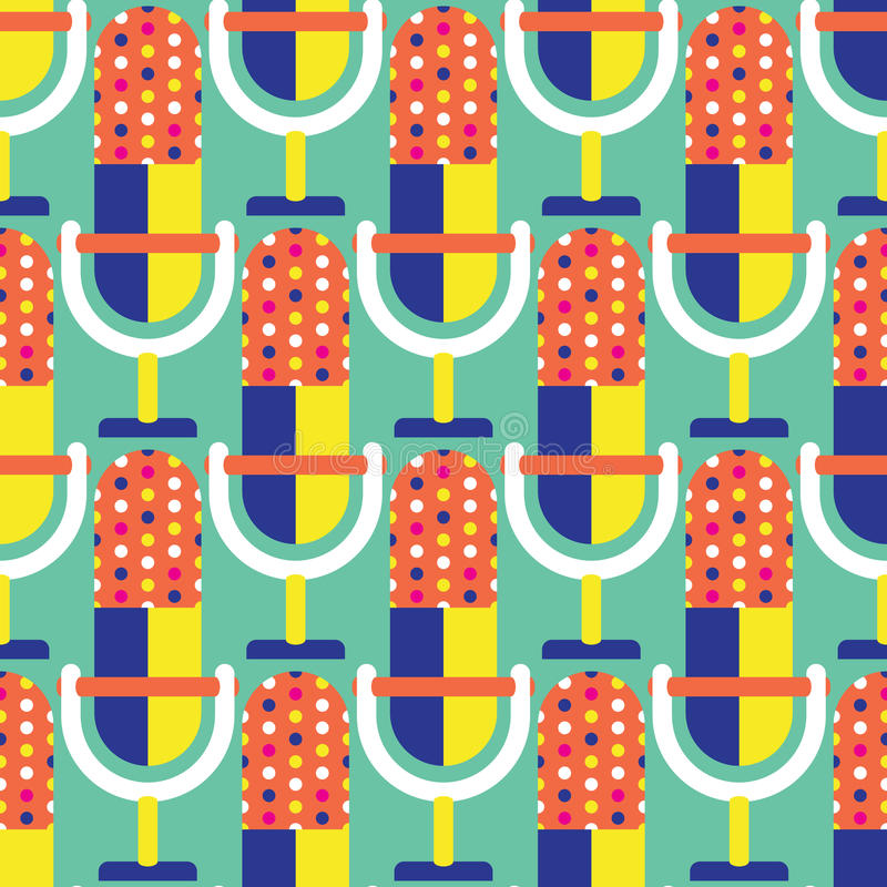 Seamless Microphone Pattern royalty free stock photos