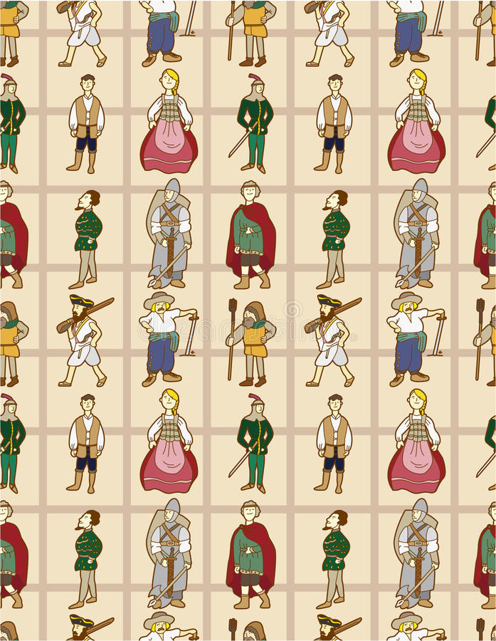 Seamless Middle Ages people pattern. Drawing stock illustration