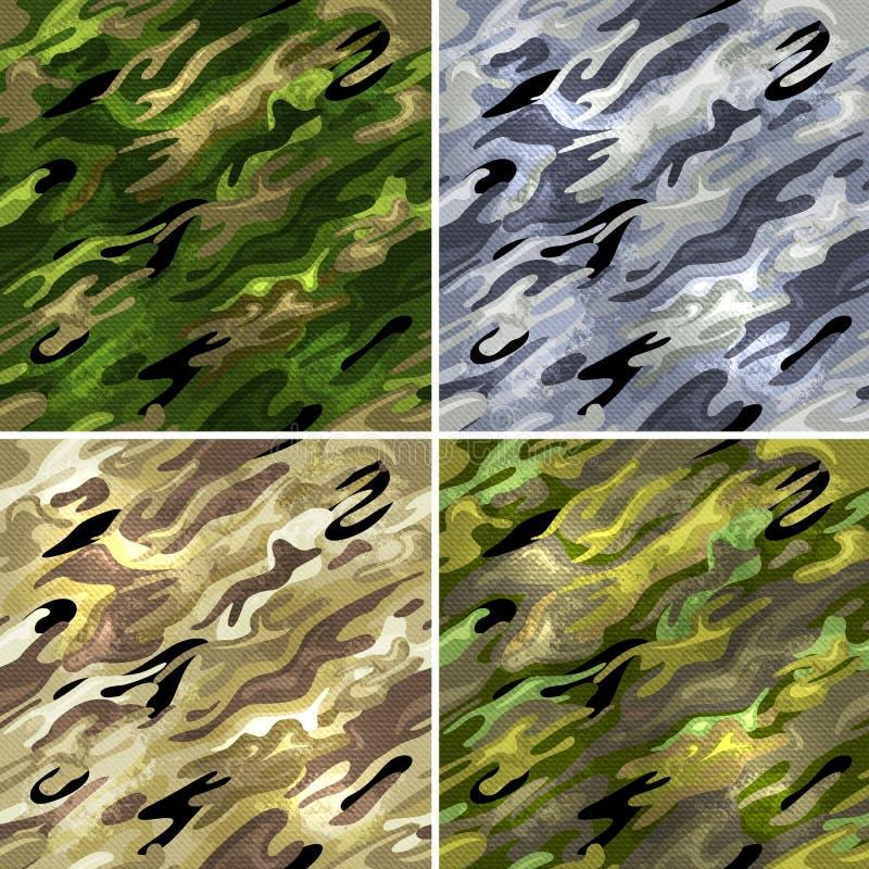 seamless militära modeller vektor illustrationer