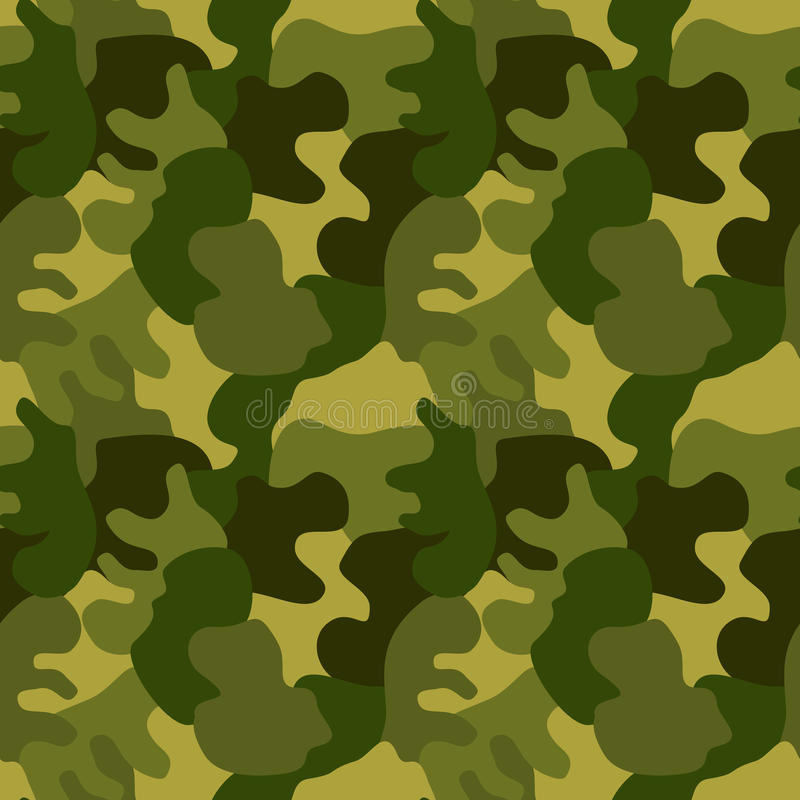 Seamless Military Camouflage Green. Military camouflage texture with green tones. Seamless Tile vector illustration